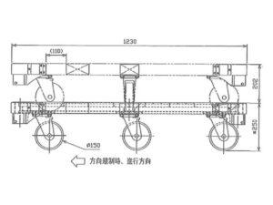 楽輪車 アルミ6輪平台車(側面図)
