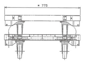 楽輪車 アルミ6輪平台車(正面図)
