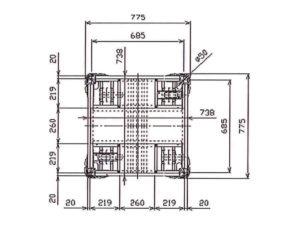 楽輪車800 アルミ4輪平台車(平面図)