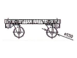 楽輪車800 アルミ4輪平台車(側面図)
