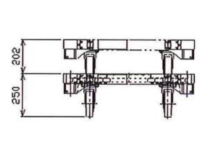 楽輪車800 アルミ4輪平台車(正面図)
