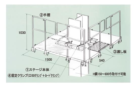 柱用作業台 注意: 積載荷重、取付H鋼フランジ幅を守り、各ボルトまたはピン等を確実... 柱用安